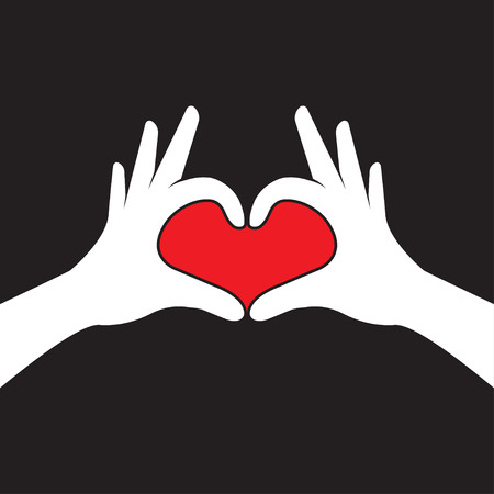 Hands making heart shape. Valentines day. Vector illustration