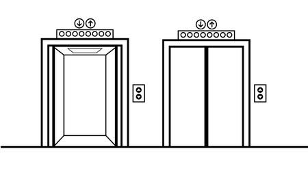 Porte dell'ascensore aperte e chiuse. Design piatto, illustrazione vettoriale