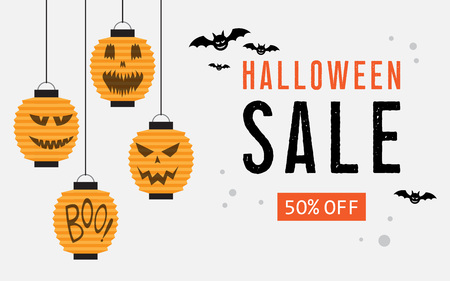 Halloween sale web banner with balloons pumpkins and bats. Vector illustration