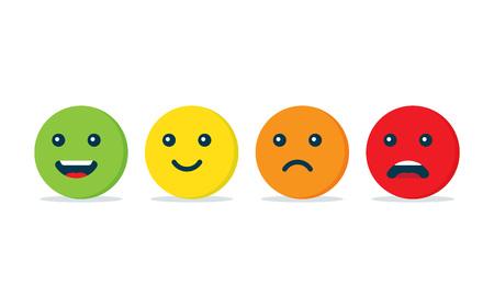 Icône de boules d'émotion. Concept de rétroaction positive et négative. Illustration vectorielle, isolée sur fond blanc