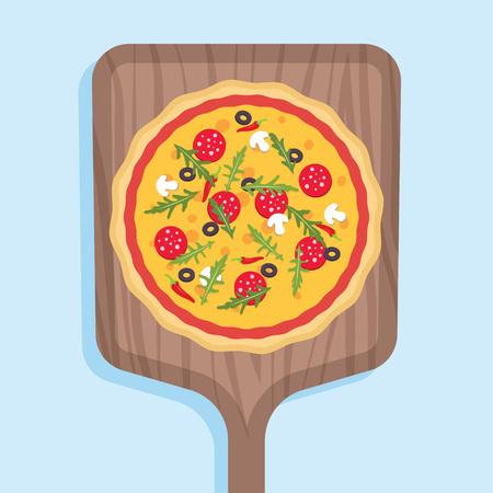 Pizza on wooden shovel. Italian pizzeria. Vector illustration on blue background