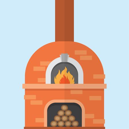 Horno de pizza de ladrillo con fuego, ilustración vectorial aislado sobre fondo blanco.