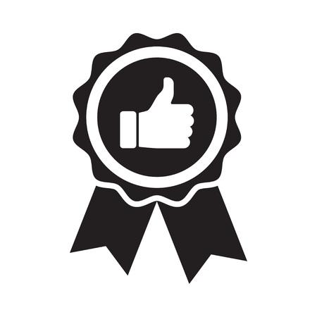 Badge de produit de qualité supérieure. Icône de pouce vers le haut. Illustration vectorielle