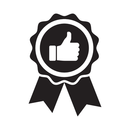 Premium quality product badge. Thumb up icon. Vector Illustration