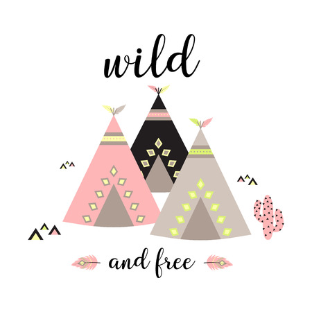 wild and free scandinavian style hand drawn poster, boho style drawing print, poster with wigwams, cactus and text wild and free