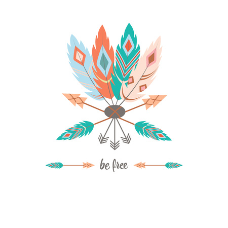 be free., boho art print with decorative feathers in ethnic style, perfect for invitations, greeting cards, print, clothes, posters and more Illustration