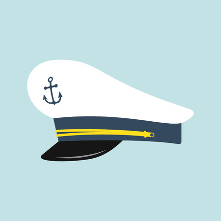 Sombrero de capitán con emblema de ancla. Gorra de marinero. Ilustración de vector aislado sobre fondo azul