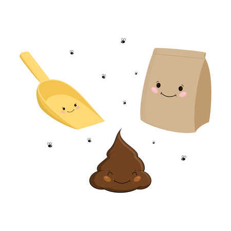 Set with cartoon turd with smile, shovel and paper pack, simple illustration of shit, equipment for cleaning and flies Иллюстрация
