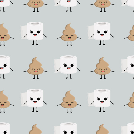 Seamless pattern with cute cartoon faces roll of toilet paper, and pile of poop Illustration