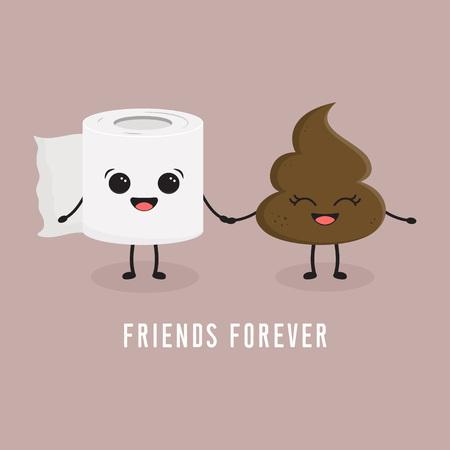Illustration transparente avec du papier toilette et des personnages emoji de dessin animé de merde meilleurs amis