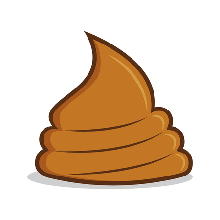 Cartoon cute poop with smile, simple Illustration with shit and positive emotions