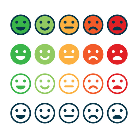 Rating satisfaction. Feedback in form of emotions. Excellent, good, normal, bad awful Vector illustration Иллюстрация