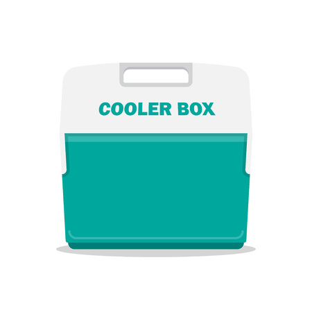 Handheld blue refrigerator, ice cooler for picnic or camping. Vector illustration, isolated over white background Çizim