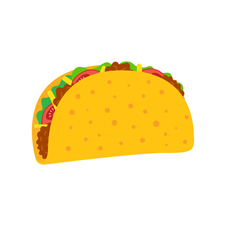 Taco vector illustration in flat style. Taco mexican food. Traditional tacos isolated from background. Taco fast food. Illustration