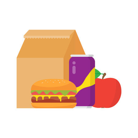 Lunch box to school. Good lunch - hamburger, fruit and drink. Vector illustration isolated on white background