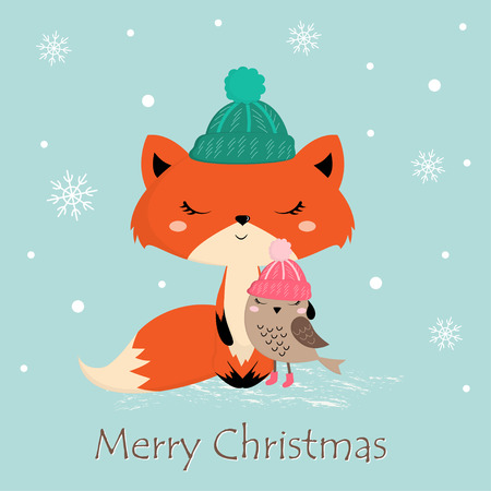 Cute Christmas greeting card with fox and bird, happy holidays, hand drawn style Banque d'images - 111272340