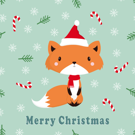 seamless christmas pattern with cartoon fox isolated on winter background, lovely stylized fox, illustration for children, wallpaper with wild animal Banque d'images - 111348413