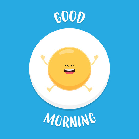 Good Morning. Funny fried egg raises hands and smiles. Vector illustration