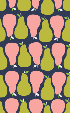 Seamless pattern with pears. Vector illustration in cartoon style.