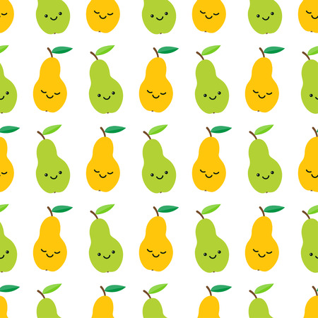 Cute pears seamless pattern in cartoon style. Vector illustration Stock Vector - 127721059