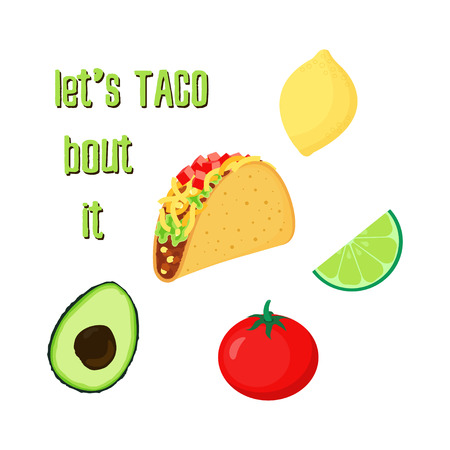 illustration with tacos, tomato, avocado, lime and lemon, cartoon mexican food Illustration