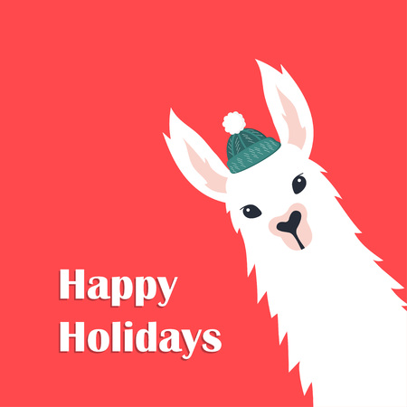 Christmas card with llama in hat, greeting card Illustration