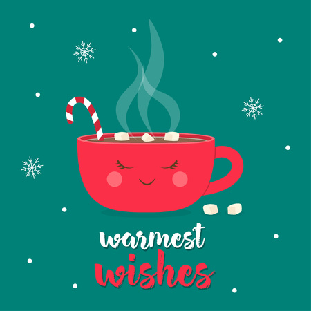 Christmas greeting card with cup decorated marshmallow and candy cane isolated on green backgroundwith, cute Merry Christmas and Happy New Year print with coffee