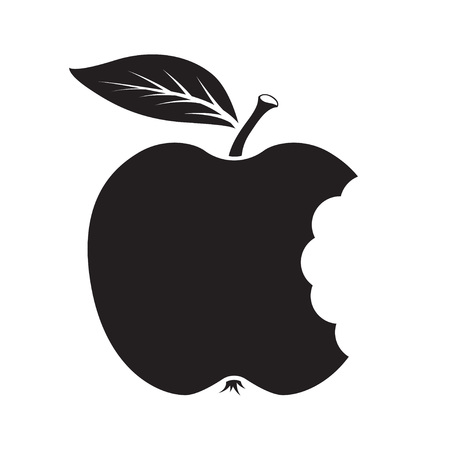 Bite apple icon. Black silhouette. Vector illustration
