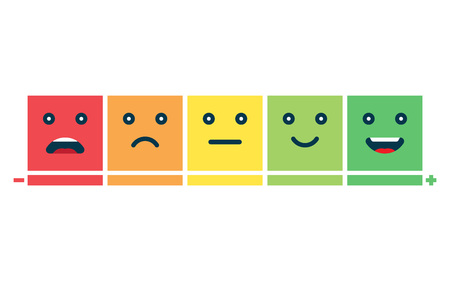 Rating satisfaction. Feedback in form of emotions. Excellent, good, normal, bad awful Vector illustration Stock Vector - 127459219