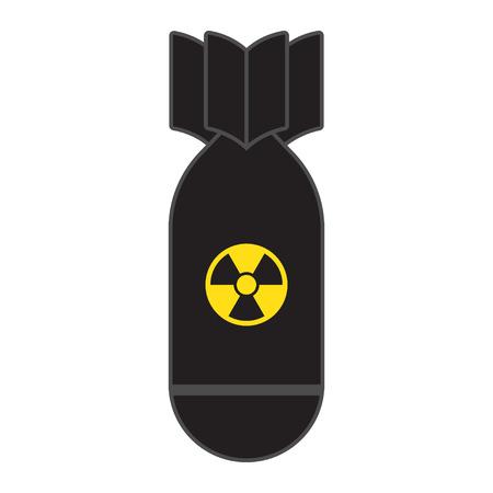 La bomba cohete cae volando. Armas nucleares. Ilustración de vector, aislado sobre fondo blanco.