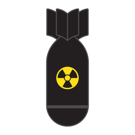 Rocket bomb flies down. Nuclear weapons. Vector illustration, isolated on white background