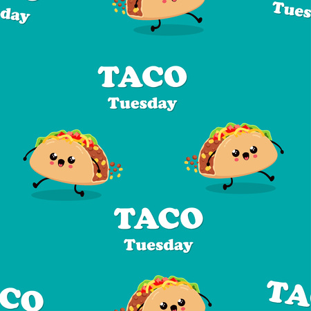 Vintage Mexican food pattern design with vector taco character, mexican food, traditional tacos isolated from background, taco fast food, tuesday