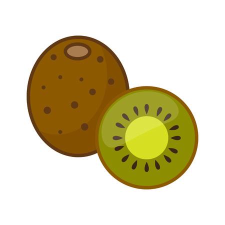 Kiwi, whole fruit and half. Vector Illustration isolated on white background. Illustration