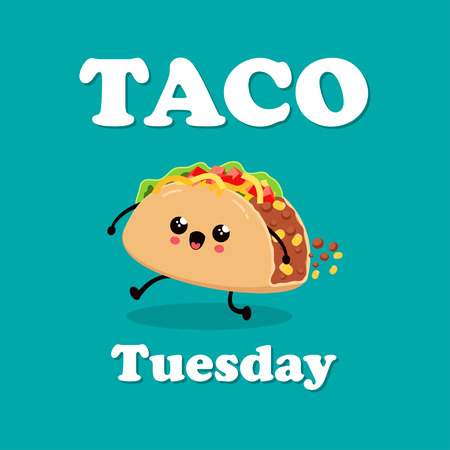 Vintage Mexican food poster design with vector taco character, Mexican food, traditional tacos isolated from background, taco fast food, Tuesday