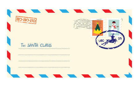 Christmas envelope for letter to Santa Claus. Child wish list for Santa. Vector illustration