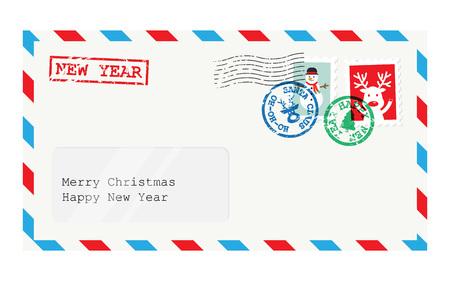 Christmas envelope for letter to Santa Claus. Child wish list for Santa. Vector illustration