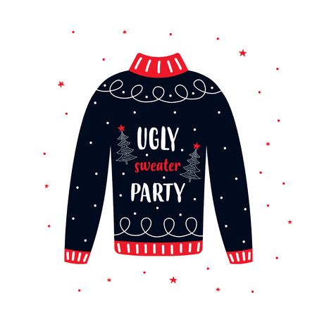 Nettes Banner für Ugly Sweater Party, Feiertagshintergrund mit Weihnachtspullover Vektorgrafik