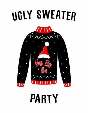 Cute banner for Ugly Sweater Party, holiday background with Christmas sweater