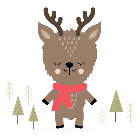 winter is coming scene with cute reindeer with scarf at snowy ground with trees in background, Holiday Greeting Card, banner, poster  イラスト・ベクター素材