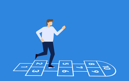 Man playing hopscotch, a childrens game, on the street. vector illustration