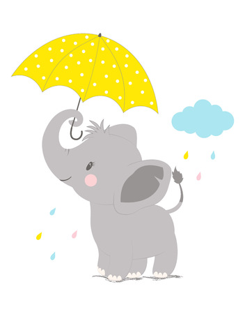 cartoon style icon of funny elephant with umbrella on backgroung with cloud, simple childish character for baby shower greeting card Illustration