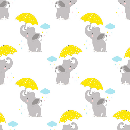 cartoon style pattern of funny elephant with umbrella on backgroung with cloud, simple childish character for baby shower greeting wallpaper