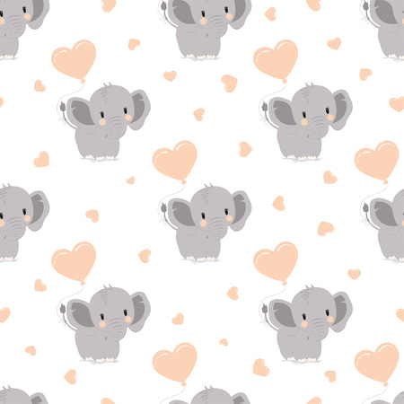 cartoon style pattern of funny elephant with ballon on backgroung with hearts, simple childish character for baby shower greeting wallpaper, valentine picture