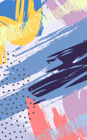 Abstract background with brush strokes in memphis style. Creative background for print, magazines, card, poster, flyer design, brochure. Vector illustration Vettoriali