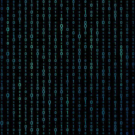 Matrix binary code background. Digits on screen. Concept of coding or mining of crypto-currency. Vector illustration