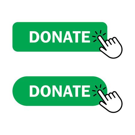 Donate button Icon. Hand cursor clicks Donate button. Vector illustration Vettoriali