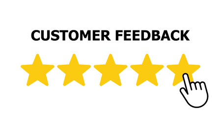 Customer reviews, rating, user feedback concept icon. Vector illustration Stock Illustratie