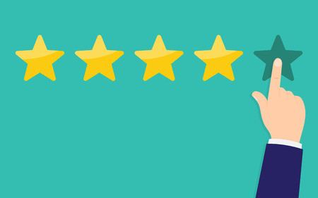 Le mani umane hanno valutato cinque stelle. Recensioni dei clienti, valutazione, concetto di classificazione. Rango. Illustrazione vettoriale