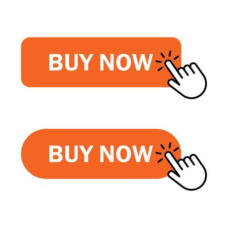 Buy Now button Icon. Hand cursor clicks buy button. Vector illustration