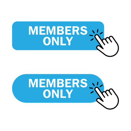 Members only button icon. Hand cursor clicks Members Only button. Vector illustration Illustration